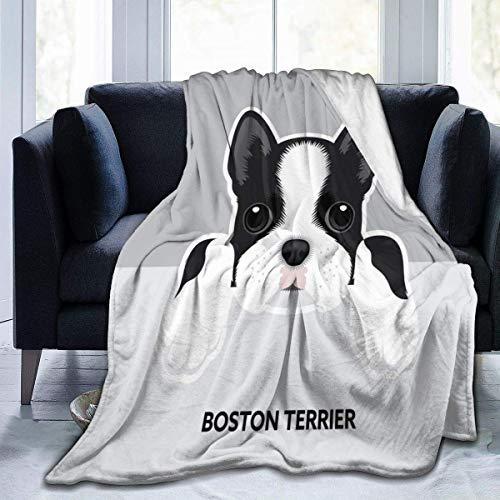 RROOT Manta polar de franela Boston Terrier para cachorros de 127 x 152 cm, para sala de estar, dormitorio, sofá, sofá, cálida y suave, para niños y adultos