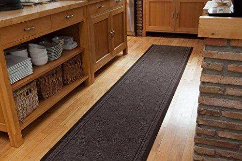 The Rug House Langlebiger wasserabweisender Rutschfester brauner Läufer Teppich Flurläufer nach Maß – 66cm Breite, Jede Länge