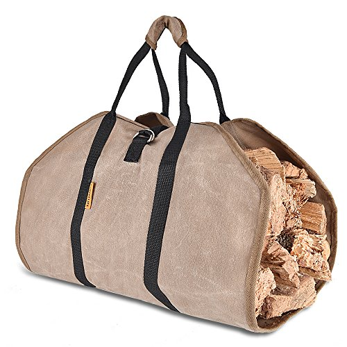 CONVELIFE Waxed Canvas Firewood Log Carrier Tote Wood Carrying Bag for Woodpile Fireplace,Camp,Stove,Cabin Heavy Duty Handle,Washed,Resistance Soiling Outdoor Indoor(Canvas-Emery)