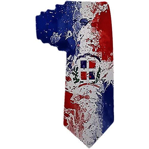 Corbata de los hombres 'S' República DominicaNA Bandera Corbata de seda de poliéster rojo y azul