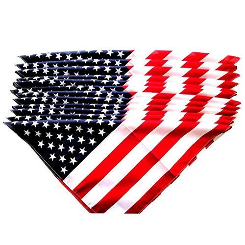 LjzlSxMF Bandera Americana del Pañuelo De La Bandera Americana Impresos con Banda De Estrellas De Los Eeuu De Las Rayas del Abrigo De Pelo De 12pcs Unisex