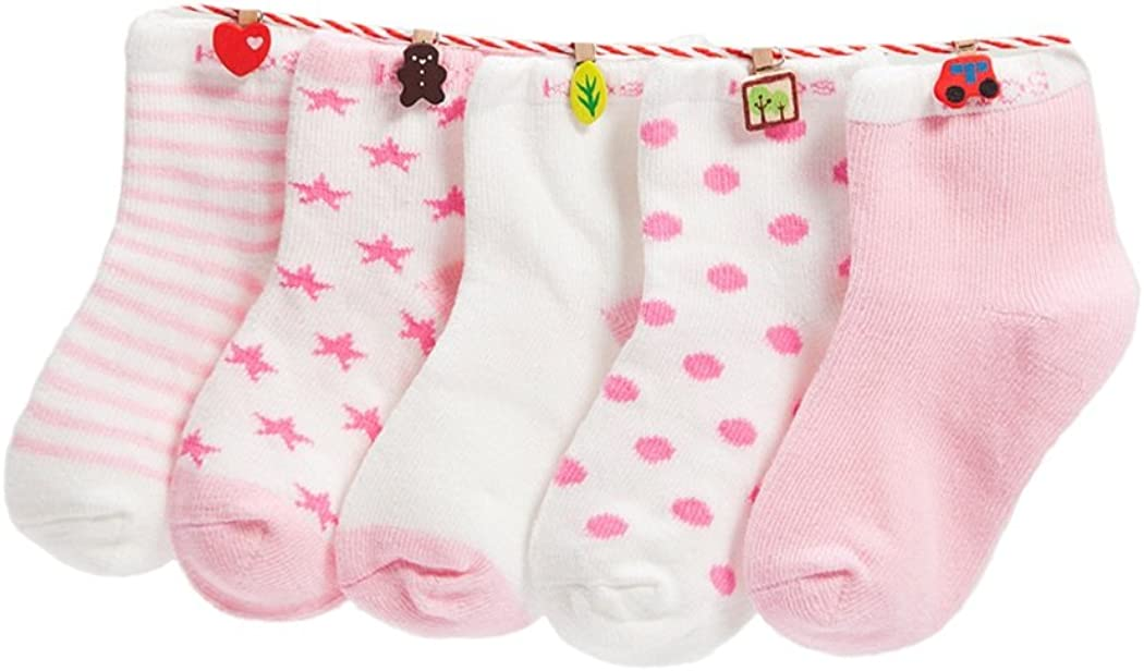 DEBAIJIA Calcetines de Algodón para Bebé 0-7 Años Suaves Cómodos Niños Niñas Calcetines Respirable Primavera Verano Otoño