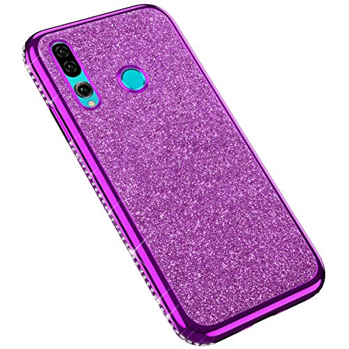 Uposao Compatible with Huawei P Smart Plus 2019 Case for Girls Glitter Diamond Rhinestone Girl Sparkly Bling Electroplating Soft Clear Ultra-Thin Silicone Gel Rubber Back Cover,Purple