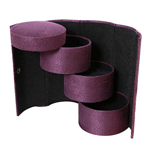 Beetest-eu-portable Voyage multifonction 3 étages rigide rond Bijoux Bague de collier bracelet boucles d'oreilles (support de rouleau de boîtes de rangement organiseurs étui de voyage