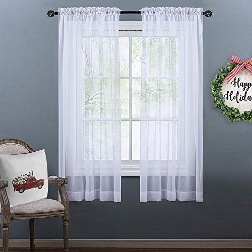 NICETOWN Sheer Curtains 63 Long - Lightweight Sheer Voile Panel Window and Door Curtains/Draperies (2 Panels, 63 inch, White)
