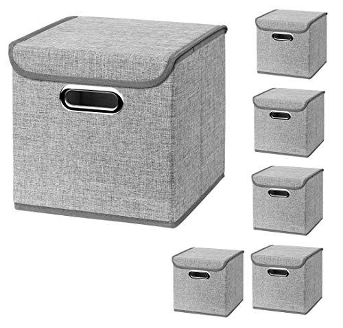 CM3 6 Stück Hellgrau Faltbox 25 x 25 x 25 cm Aufbewahrungsbox faltbar, mit Deckel