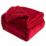 Sivio Sherpa Fleece Blanket Queen Size 90x90 Inches Dual Sided Burgundy Plush Throw Blanket Fuzzy Soft Blanket Microfiber for Couch, Bed, Sofa Ultra Luxurious Warm and Cozy for All Seasons