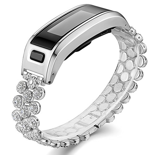 Accessory Bands Compatible Garmin Vivosmart HR, Metal Case with Adjustable Watch Replacement Band Strap Compatible Garmin Vivosmart HR, Not for Garmin Vivosmart HR+ (No Tracker)