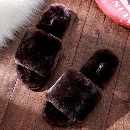 COQUI Slippers Kids,Baumwollpantoffeln weiblicher Winter süßes Zuhause Paar innen dickbesohlte rutschfeste warme Plüschpantoffeln nach Hause Herbst und Winter-62 Kaffee_42-43