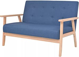 vidaXL 2-Seater Sofa Fabric Blue Living Room Seating Lounge Couch Furniture