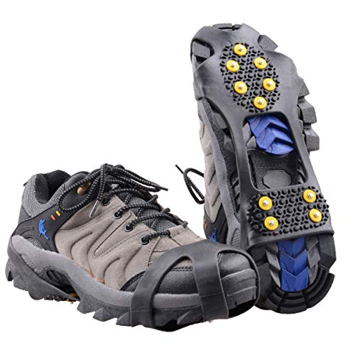 Azarxis Ramponi per Scarponi Ramponi Antiscivolo Ramponcini Ghiaccio per Scarpe Ramponcini Acciaio per Alpinismo Escursioni Camp Pesca Invernale (Nero, XL)