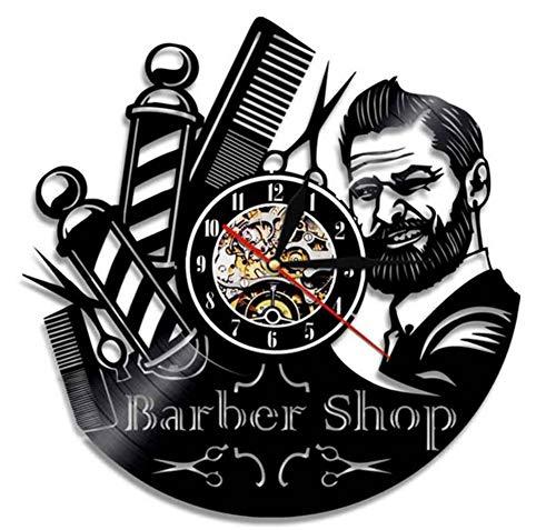 NACHEN Barber Shop Clock Vinyl Schallplatte Hipster Friseur Hair Salon Beauty Salon Vinyl Uhr Dekor Art Vinyl Record Uhr Einzigartige Handgefertigte Dekorationen (Black9, 12inch)