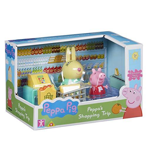 Peppa Pig - Cofanetto con 2 personaggi e accessori (Cucina Papa Pig o a scelta Shopping set con Peppa e Rebbeca Rabbit), PPC45, multicolore