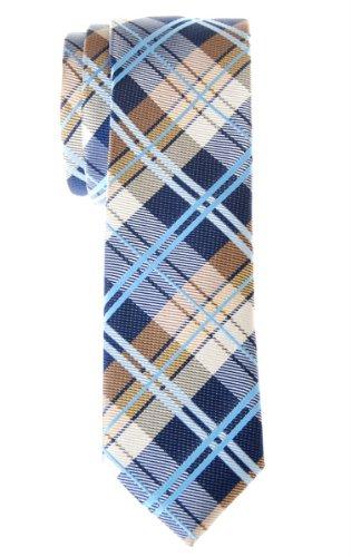 Retreez Cravate Fine Slim élégante tissée en tartan pour homme - Bleu marin et Kaki
