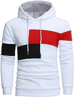 YANG-YI Hot Men Long Sleeve Hoodie Stitching Color Coat Jacket Sport Tops (L, white)