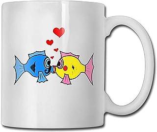 Kiss Fish Mug 11 oz Mens nouveauté céramique cadeaux tasse de thé un cadeau parfait pour votre famille et vos amis