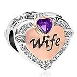 SexyMandala Love Heart Wife Rose Gold Charm Clear CZ Beads European Bracelets (deep Purple)