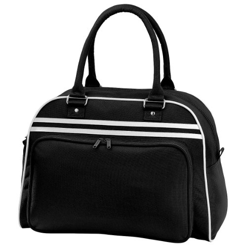 Bagbase - Bolsa deportiva de viaje estilo bolos retro (23 Litres) (Talla Única/Blanco/Negro)