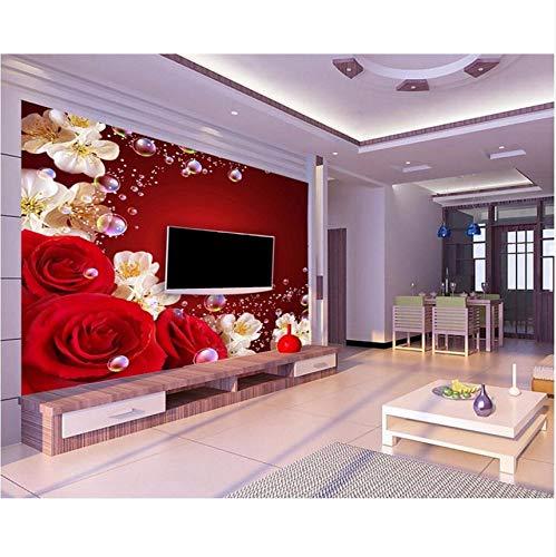 Pmhhc Papier Peint Personnalisé Murale Rose Rouge Salon Tv Mur Décoratif 3D Papier Peint Papier Peint Photo Murale Papier Peint-280X200Cm