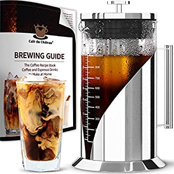 Cafe du Chateau Cold Brew Coffee Maker - 34 Ounces - Cold Brew Maker Machine Kit - Glass Pitcher for Ice Tea and Coffee - Stainless Steel Iced Coffee Maker Press - Iced Coffee Brewer