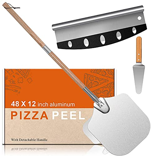 14*12 Pizza Peel Aluminum Alloy Pizza Shovel Pizza Paddle Pizza Cutter+Pizza Slicer with 2-Section Detachable Portable Hanging Wood Handle for Home Baking Homemade Pizza Bread and Cookies Cake
