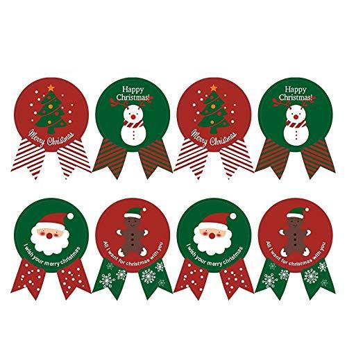 EQLEF Natale Adesivi Natalizie Guarnizioni Per Sacchetto Di Cottura Con Lovely XmasTree, Adesivi Colorati Etichetta Seal Arco Per Confezioni Regalo Buste Di Carte (160 PCS)