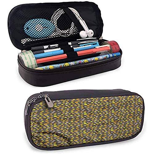 Bolso de lápices gris y amarillo Cuero de diferentes tamaños Puntos Papelería protectora
