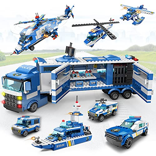 City Police Building Bricks Set Toy, 8 in 3 Swat Mobile Command Center Station Truck, military Helicopters, Cop cars, boat and robots for Boys and Girls Aged 5 to 12 (1040 Pieces)