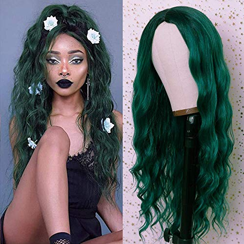 Fureya Synthetic Wigs for Women Loose Wave No Lace Wigs Ombre Blue Color with Black Roots Hair Glueless Middle Deep Part 24 Inch Wig