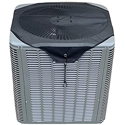 Air Conditioner Cover Sturdy,Leaf Guard Heavy Duty Mesh AC Defender for Outdoor Square Central Units, All Season Black