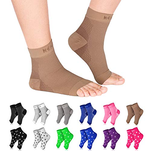 NEWZILL Plantar Fasciitis Socks with Arch Support, BEST 24/7 Foot Care Compression Sleeve, Eases Swelling & Heel Spurs, Ankle Brace Support, Increases Circulation (L/XL, Nude)