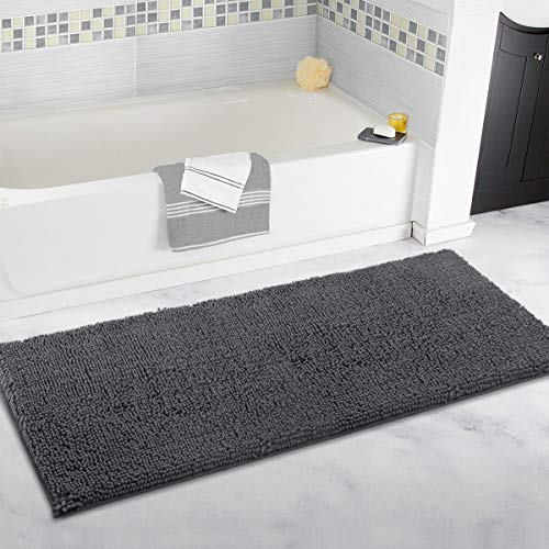 ITSOFT Non Slip Shaggy Chenille Soft Microfibers Runner Large Bath Mat for Bathroom Rug Water Absorbent Carpet, Machine Washable, 47 x 21 Inches Charcoal Gray
