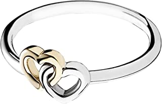 Pandora Women's Sterling Silver and 14ct Gold Ring - Size US 6-6.5 US