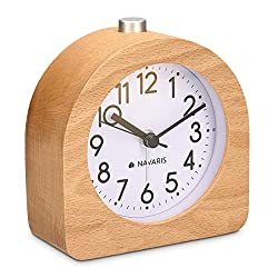 Navaris Wood Analog Alarm Clock - Half-Round Battery-Operated Non-Ticking Clock with Snooze Button and Light - Light Brown