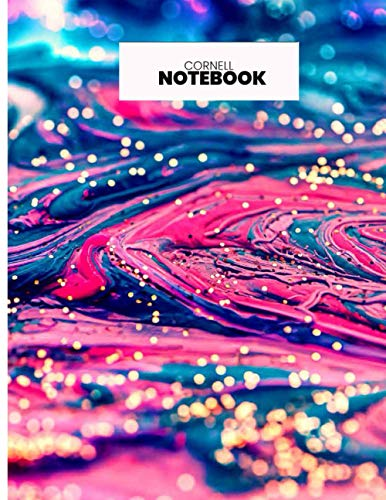 Cornell Notes Notebook: Stylish Modern College High School University Class Note Taker Colorful Liquid Pattern S3| 150 Page 8.5