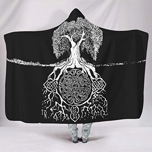 BOBONC Willow Tree Tattoos (1) The Tree of Life Personality Wearable Tapisserie Hooded Blanket weich sanft Schlafdecke Wohndecke TV Kapuze Mantel Für Kinder White 150x200cm
