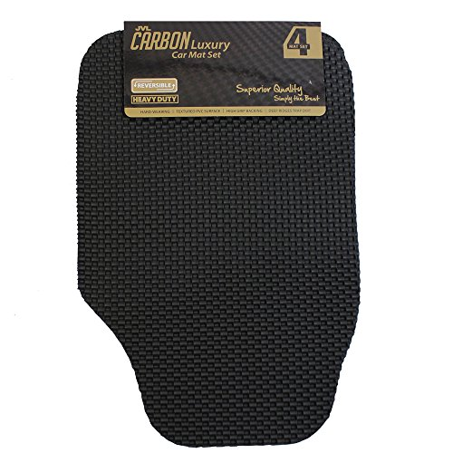 JVL 01-934 Carbon lusso universale set 4pezzi auto tappetino in gomma, nero