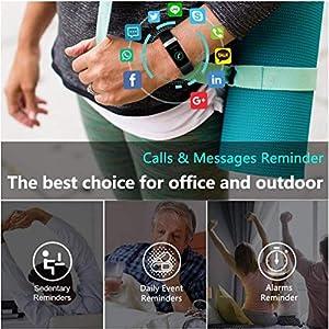 Fitness Tracker Watch, Hombres Mujeres Muñeca Monitor de frecuencia cardíaca Podómetro Smartband Sports Activity Tracker Podómetro Calorías Sueño Reloj Deportivo Impermeable IP68