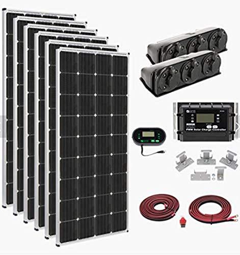 Zamp Solar Legacy Series 1,020-Watt Roof Mount Solar Panel Kit with Digital Charge Controller. Off-Grid Solar Power for RV or Tiny House - KIT1014 (6 x 170-Watt Panels)
