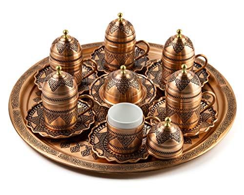 Türkische Kaffeetassen set mit deckel ,servier platte und Süssigkeitenteller - Kahve seti - Spezielle türkische Kaffee/Mokkatassen set - Orientalische Kaffeetasse | 6 Person (Kupferrot)