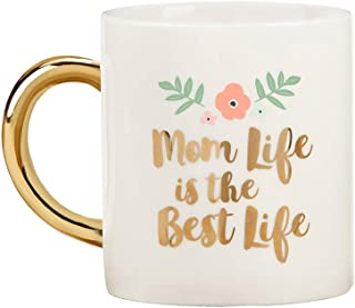 Kate Aspen 23191GD Mom Life 16 oz Foil Handle Mug, white, gold, pink, green