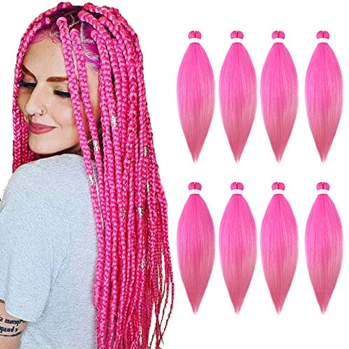 Pre Stretched Braiding Hair 8 Packs/Lot 26 Inch Long Itch Free Hot Water Setting Braids Yaki Texture Synthetic Hair Crochet Pink Braiding Hair Extension (Pink Color)