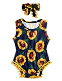 Baby Girls Sunflower Bodysuits 3D Floral Print Green Leaves Onesie for Infants Navy Blue Lightweight Elastic Waist One Piece Rompers With Headband 1 Years Toddler Boys Wedding Clothing, 6-12 Months
