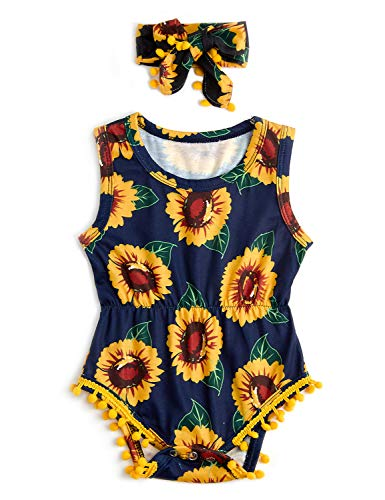 Toddler Girls Sun Flower Playsuits for Baby Funny Yellow Floral Graphics Jumpsuits 1 Years Old Summer Breathable Sleeveless Rompers 1T Kids Soft Comfy Round Neck Slim Fit Onesie, 12-18 Months