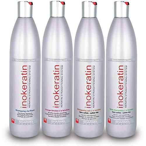 Kit Lissage Brésilien Inokeratin - Jusqu'à 6 Applications - 4 x 500 ml - à la Kératine et à l'Huile d'Argan - sans formol (Kit Lissage + Shampoing & Après-shampoing)