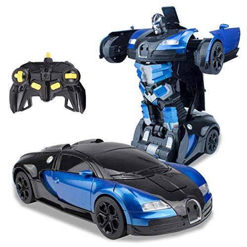 karsiqi Transform RC Cars Robot for Kids Remote Control Transform Robot Toys for Children, Gesture Sensing Toys with One-Button Deformation 1:14 Scale Best Gift for Boys & Girls (Blue)