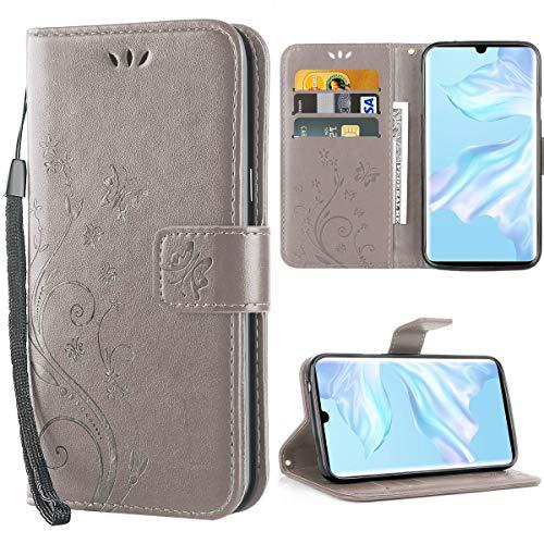 iDoer Hülle Kompatibel Mit Huawei P30 Pro/Huawei P30 Pro New Edition/Huawei P30 Pro 2020 Schmetterling Leder Hülle Schutzhülle Grau