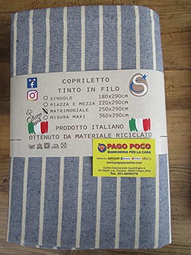 Tagesdecke für Einzelbett, geometrisches Muster, gestreift, 100 prozent Baumwolle, Größe 180 x 290 cm, Farbe: Blau, Made in Italy.