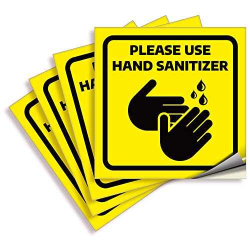 Please Use Hand Sanitizer Signs Stickers – 4 Pack 6x6 Inch – Yellow Premium Self-Adhesive Vinyl, Labels, Laminated for Ultimate UV, Weather, Scratch, Water and Fade Resistance, Indoor & Outdoor