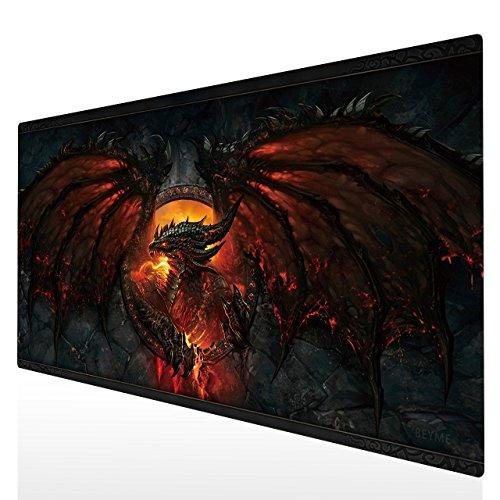 Tapis de Souris Gaming, Beyme 900 x 400mm Tapis de Souris XXL Gamer Avec Texture de Qualité Supérieure Mouse Pad (90x40 Fire Dragon007)